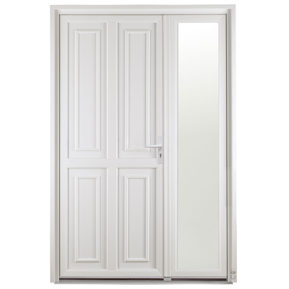 Porte d'entrée PVC Pasquet Anis extérieur semi fixe vitré