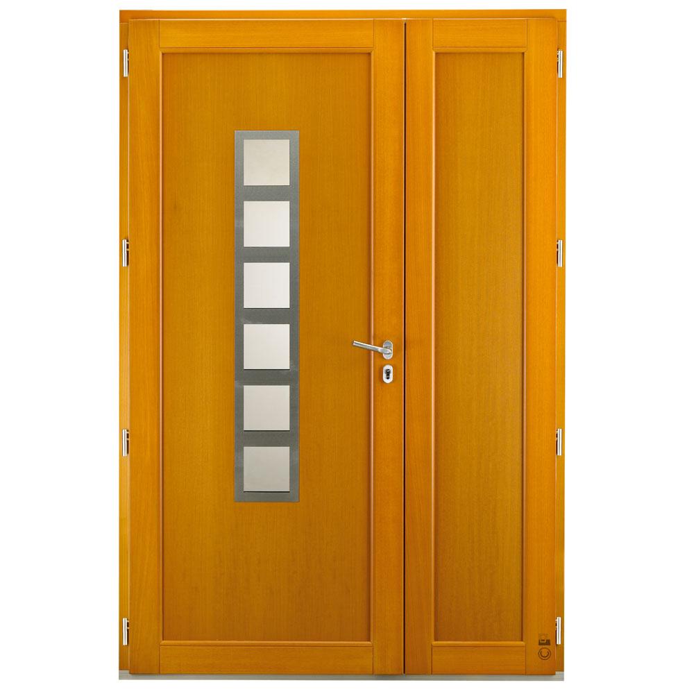 Porte d'entrée Mixte Pasquet Argos intérieur chêne moabi pin semi-fixes