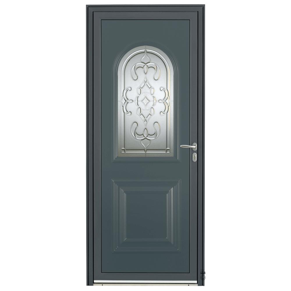 Porte d'entrée Aluminium Pasquet Andelle Gris 7016