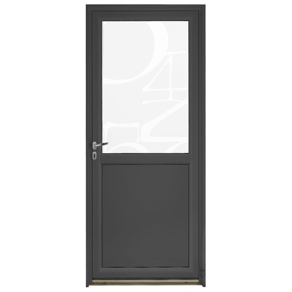 Porte d'entrée Mixte Pasquet Blason vitrage chiffres bois aluminium
