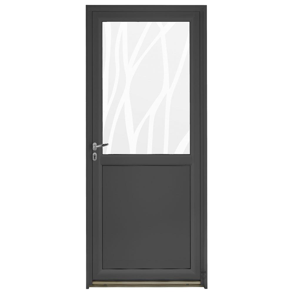 Porte d'entrée Mixte Pasquet Blason vitrage lianes bois aluminium