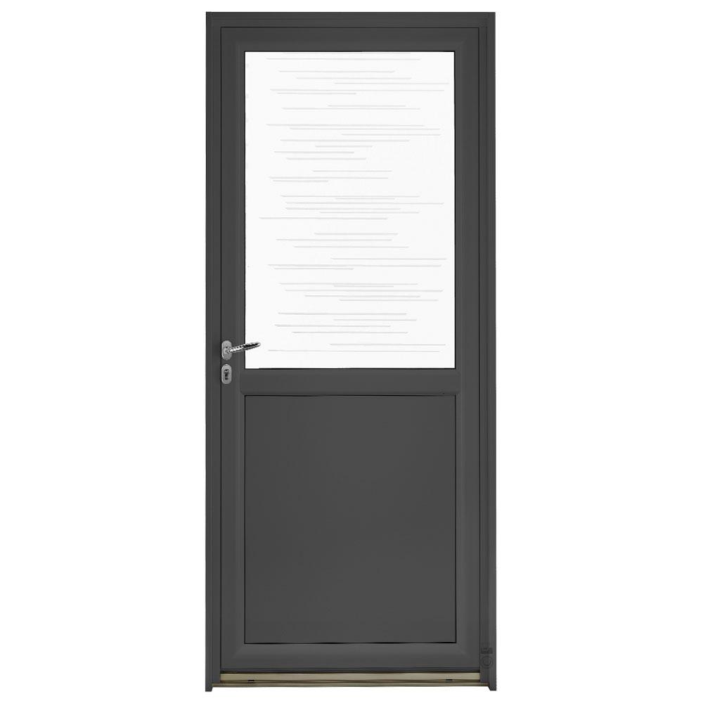 Porte d'entrée Mixte Pasquet Blason vitrage traits aluminium/bois