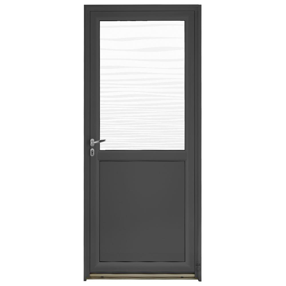 Porte d'entrée Mixte Pasquet Blason vitrage vagues aluminium/bois