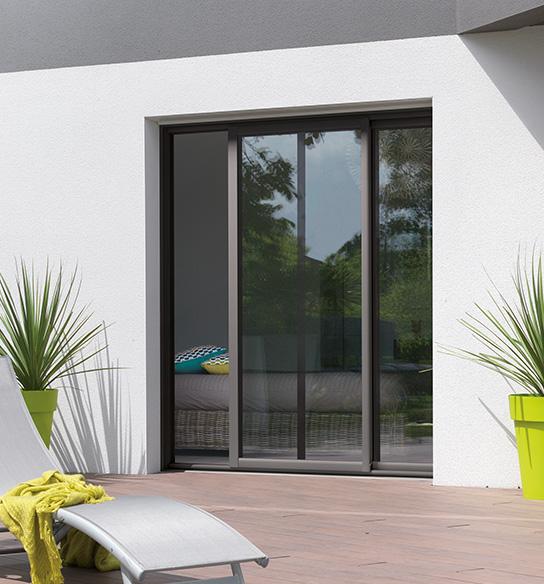 Baie vitrée coulissante aluminium empreinte 2 vantaux baie coulissante en aluminium