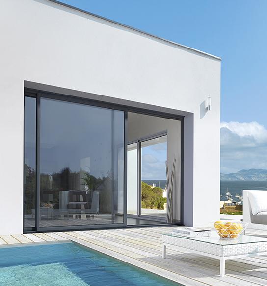 Baie vitrée coulissante aluminium empreinte 2 vantaux maison moderne