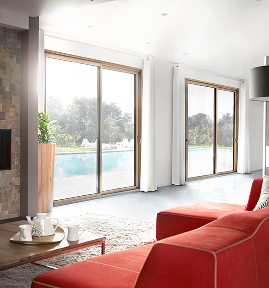 Baie vitrée mixte bois aluminium auralu baie vitree coulissante pasquet menuiseries