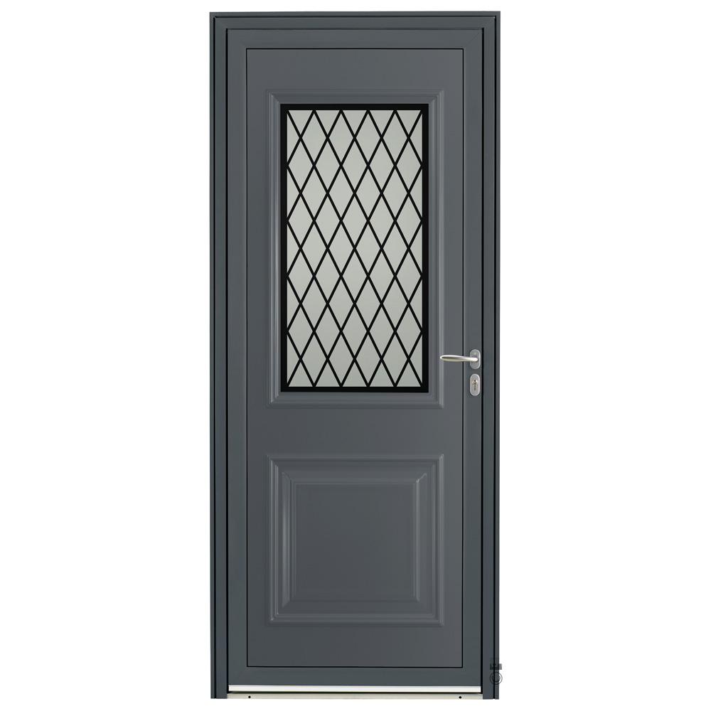 Porte d'entrée Aluminium Pasquet Bayon Gris 7016