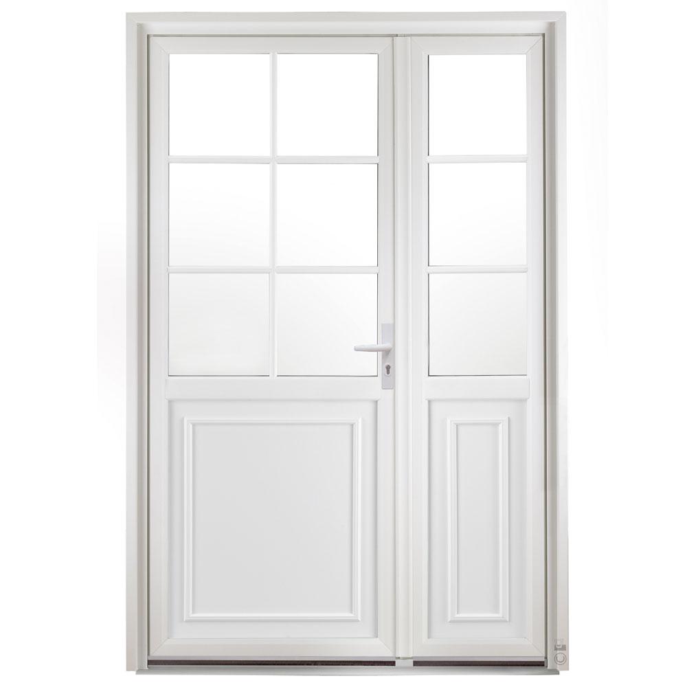 Porte d'entrée PVC Cannelle semi fixe blanc