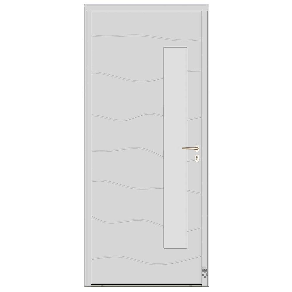 Porte d'entrée Bois Pasquet Chausey Blanc 9016 extérieur