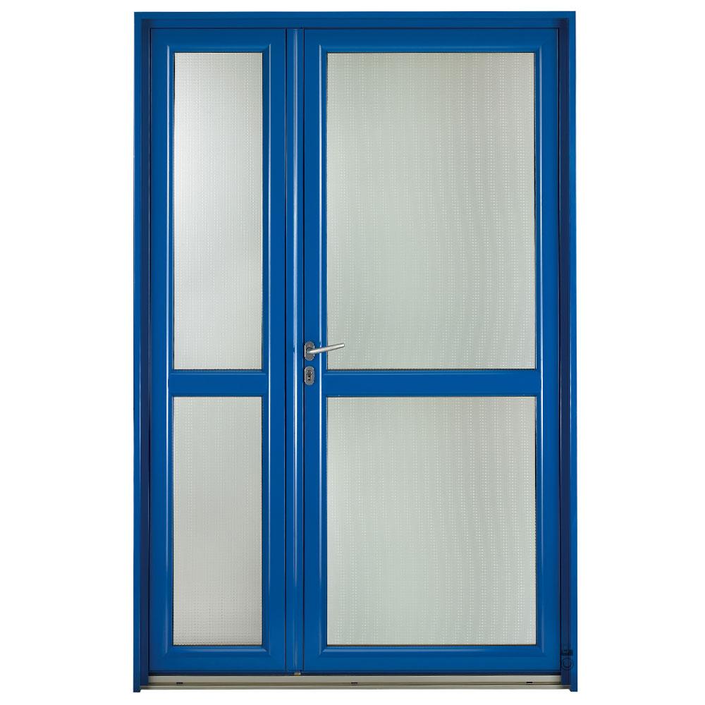 Porte d'entrée Mixte Pasquet Evasion bois alu extérieur semi fixe bleu