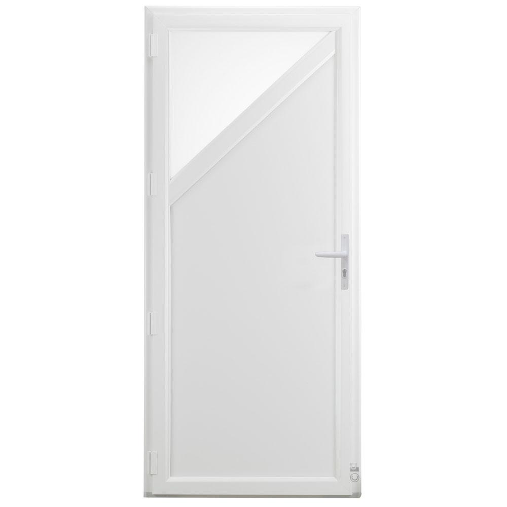 Porte d'entrée PVC Pasquet Kelvin intérieur vitrée blanc