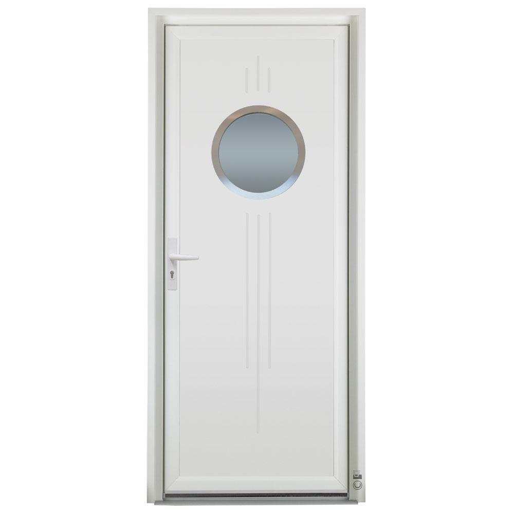 Porte d'entrée PVC Pasquet Nox vitrage circulaire