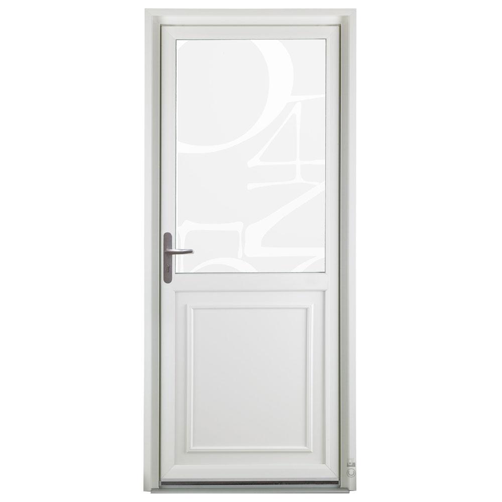 Porte d'entrée PVC Pasquet Poivre blanc vue extérieure vitrage chiffres