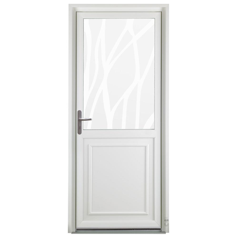 Porte d'entrée PVC Pasquet Poivre avec vitrage lianes vue extérieure