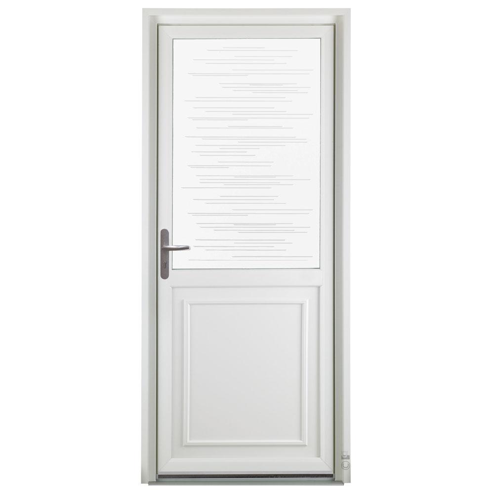 Porte d'entrée PVC Pasquet Poivre avec vitrage traits