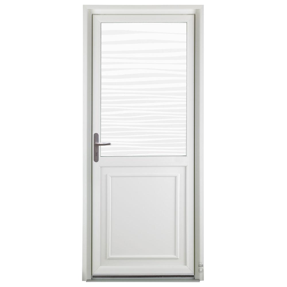 Porte d'entrée PVC Pasquet Poivre blanc vitrage vagues