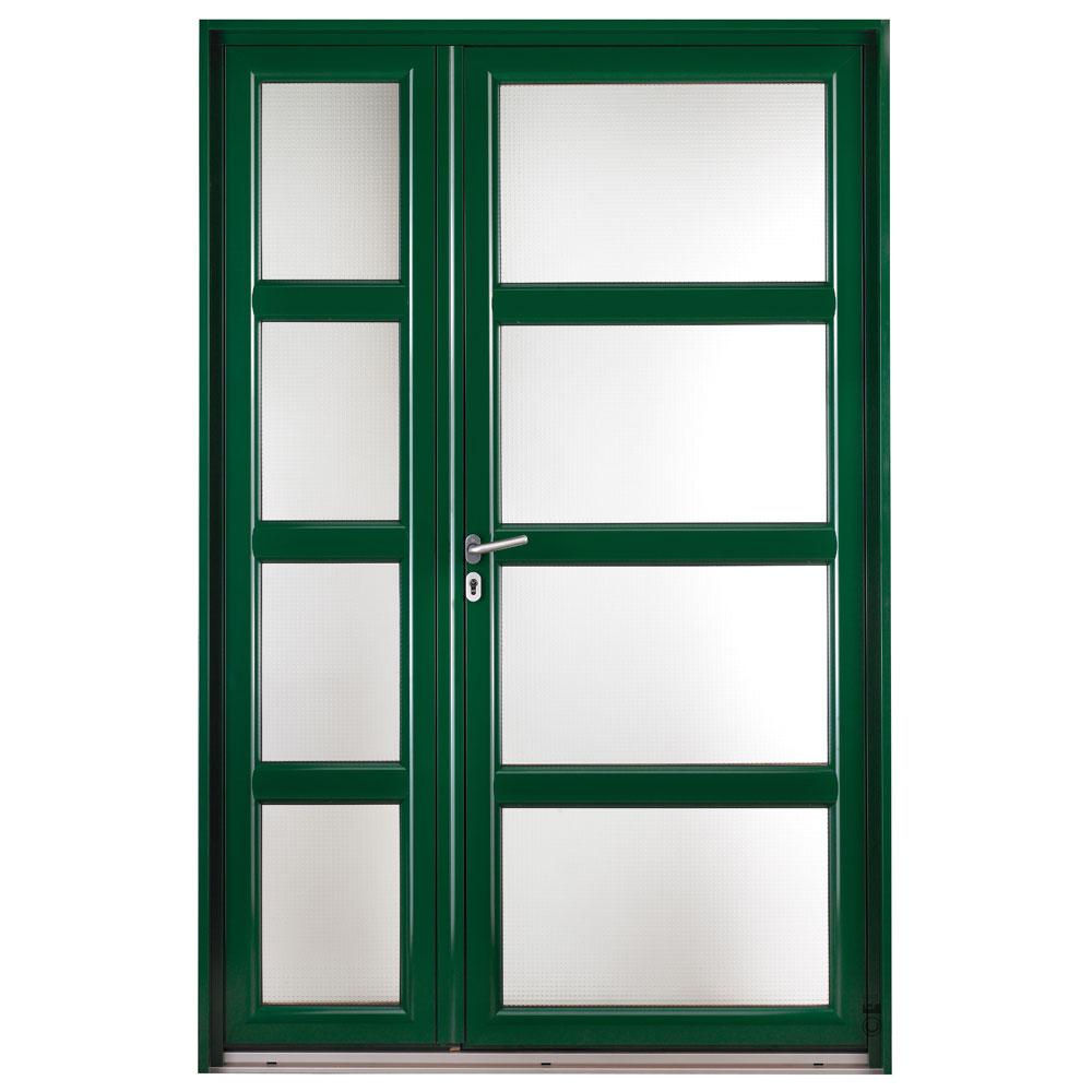 Porte d'entrée Mixte Pasquet Présage bois alu extérieur vert semi-fixe