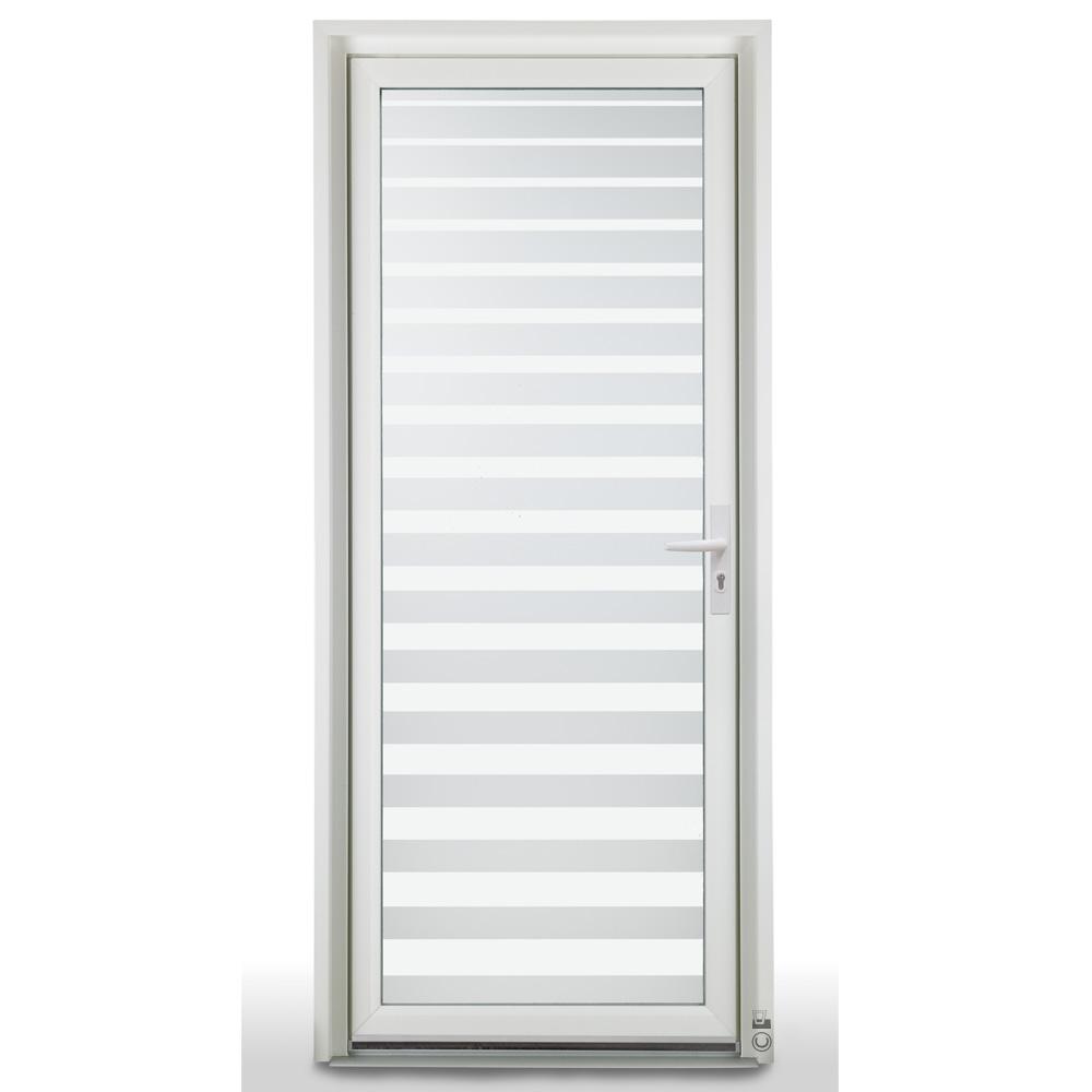 Porte d'entrée PVC Pasquet Safran vue extérieure vitrage crescendo