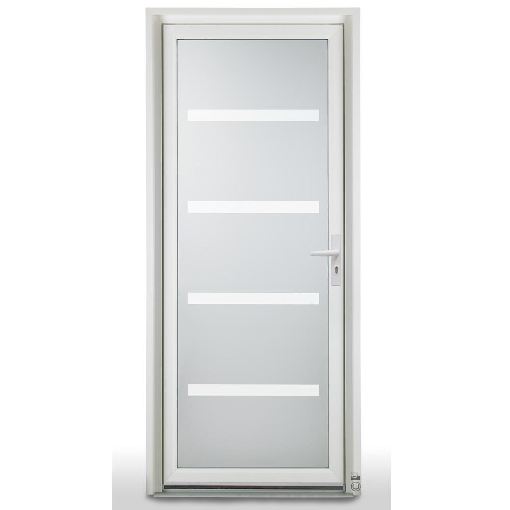 Porte d'entrée PVC Pasquet Safran vue extérieur vitrage griffe