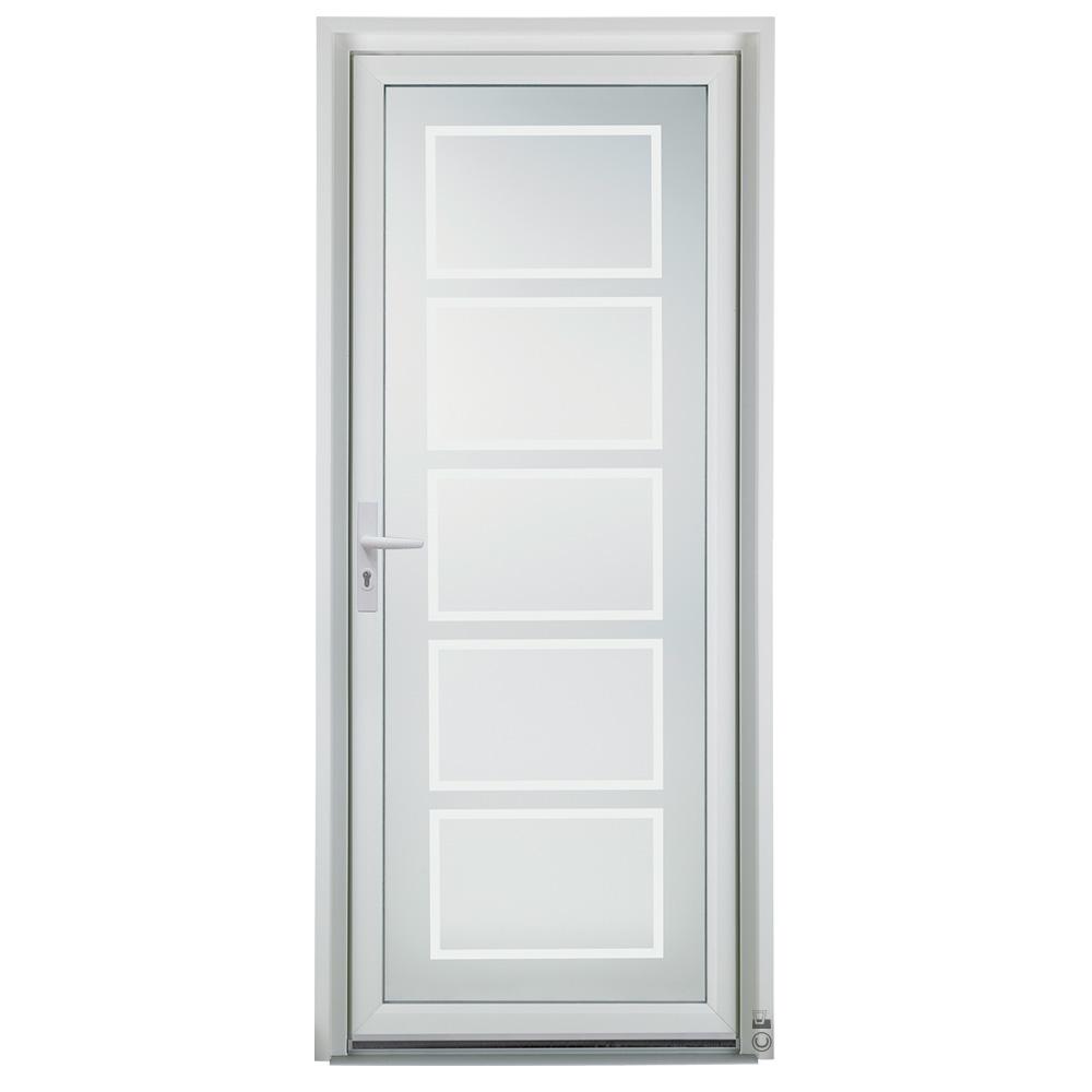 Porte d'entrée PVC Pasquet Safran vue extérieure vitrage tétra