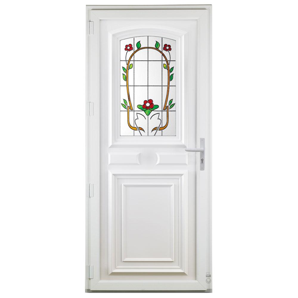 Porte d'entrée PVC Pasquet Sérénade avec vitrage décoratif vue intérieure