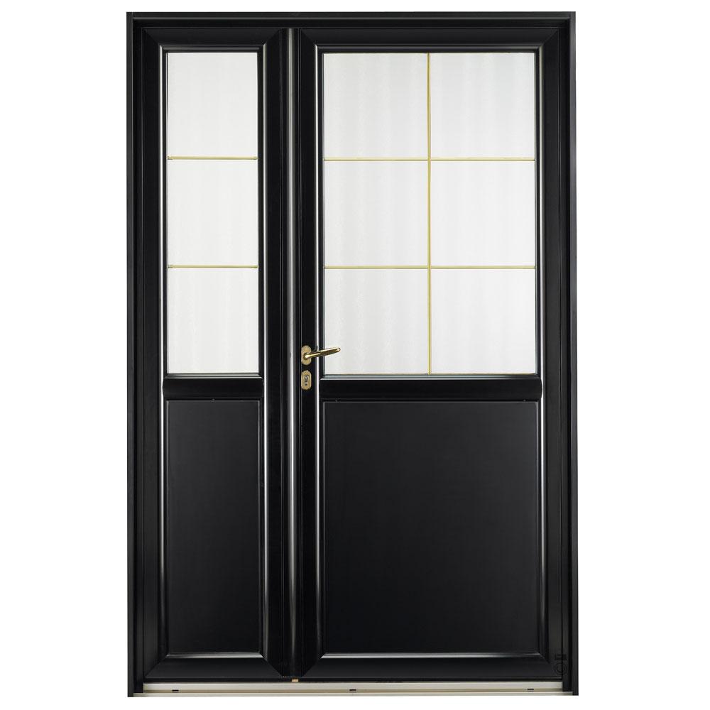 Porte d'entrée Mixte Pasquet Signature bois alu extérieur noir semi fixe
