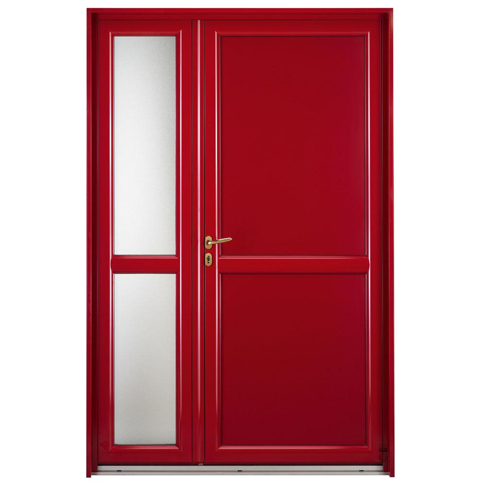 Porte d'entrée Mixte Pasquet Symbole bois alu semi fixe vitré extérieur rouge