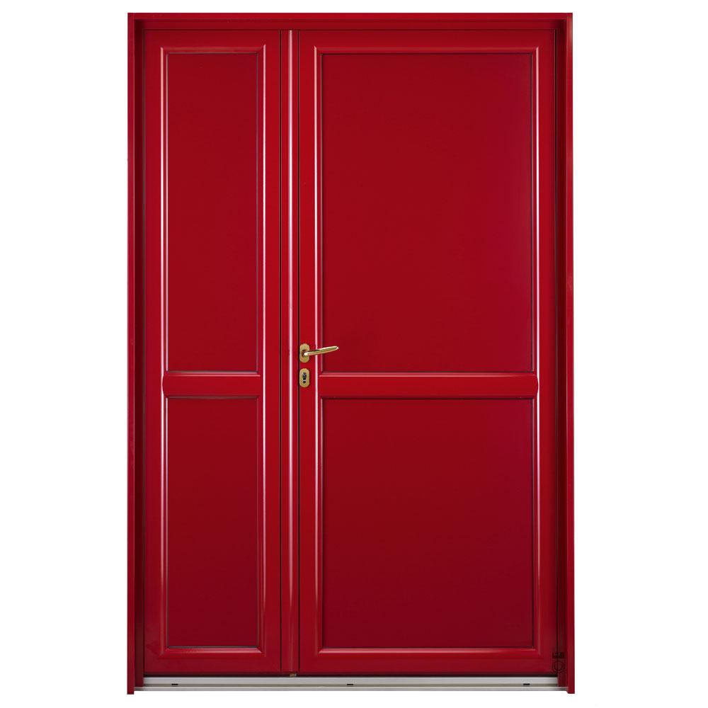 Porte d'entrée Mixte Pasquet Symbole bois alu semi fixe extérieur rouge