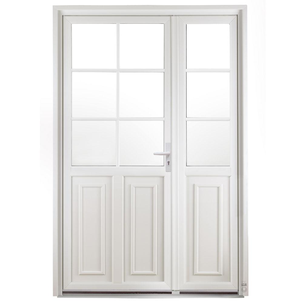 Porte d'entrée PVC Pasquet Vanille avec semi fixe