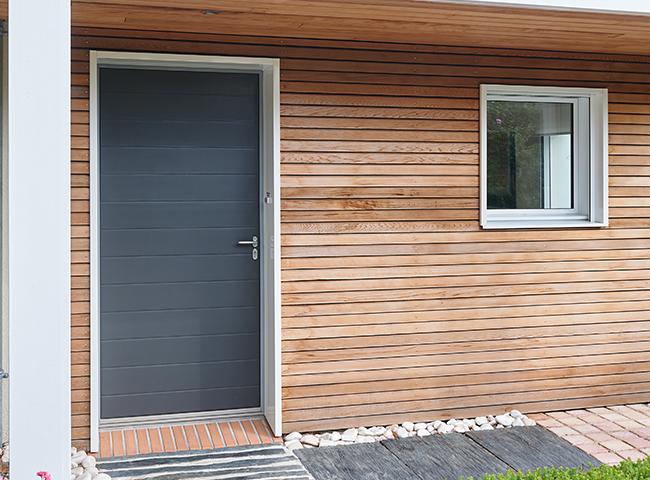 Porte d'entrée bois Pasquet Menuiseries porte d'entrée Fraction Gris 7016 - Porte entrée bois fiche