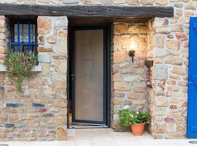 Porte entrée aluminium Initiale vitrage Gingembre porte vitrée porte entrée un vantail porte vitrée aluminium