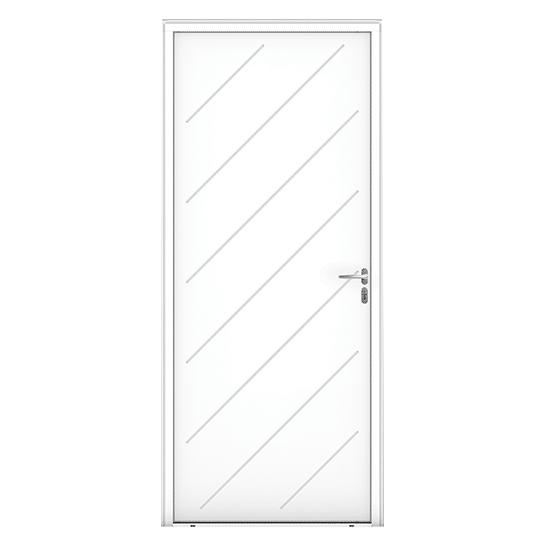Porte d'entrée Bois Ilur blanc vue extérieure