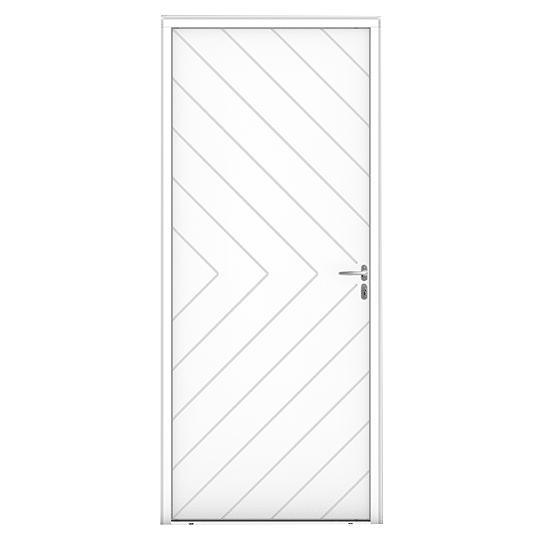 Porte d'entrée Bois Rouzic blanc vue extérieure