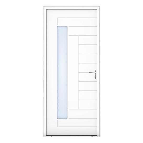 Porte d'entrée bois Tibidy Blanc vue extérieure