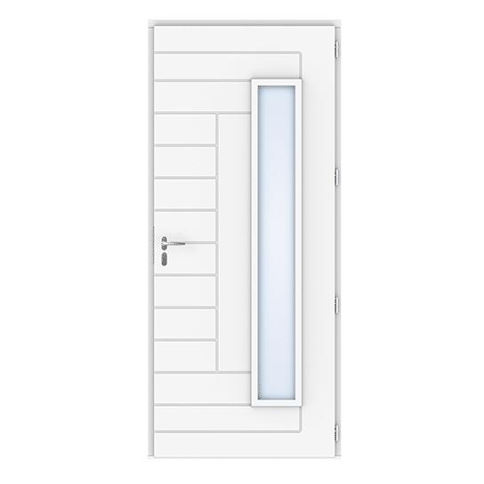 Porte d'entrée bois Tibidy Blanc vue intérieure