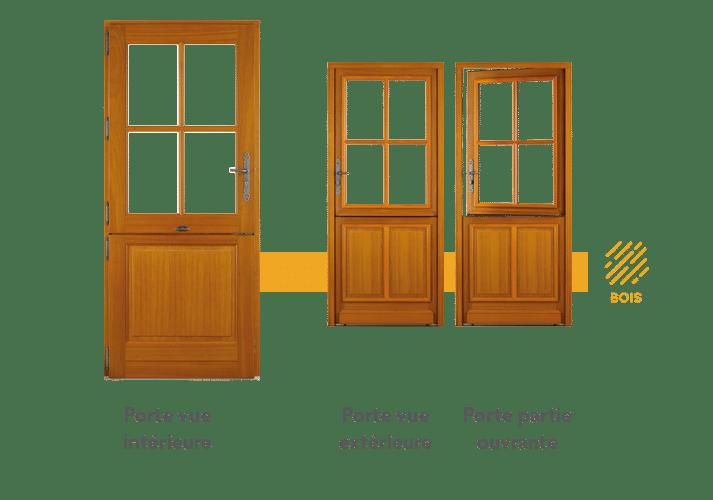 Porte fermière en bois, porte à l'ancienne